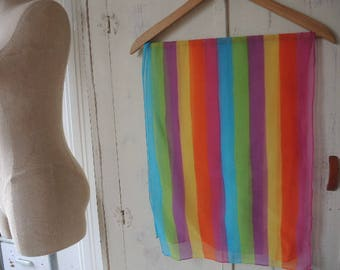Vintage sheer chiffon scarf rainbow striped r  14 x 40 inches