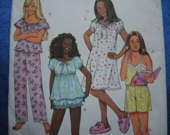 2000s sewing pattern Butterick 4383 girls' pajamas nightgown pjs UNCUT size 7-8-10
