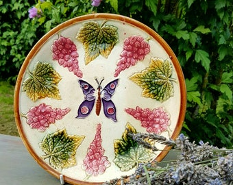 Striking 19thC Antique French  Barbotine Majolica Butterfly Papillon & Flora Plate-Amazing Detailed Decoration throughout-Rare Piece