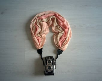 Camera strap Luxury camera strap Peachy pink camera strap Scarf camera strap DSRL camera strap Photographer accessories Fabric camera strap