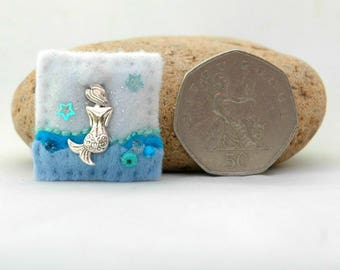 mermaid pin, little mermaid brooch, unique mermaid gifts, mythical gift, cute felt brooch, sparkly accessory, gifts for girls, British made