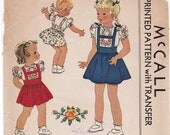 RARE 1941 McCall 887 Toddler Girl's Suspender Skirt, Blouse and Panties Vintage Sewing Pattern, Size 2, Breast 21, Complete Part Cut