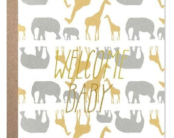 Welcome baby safari with Gold Foil