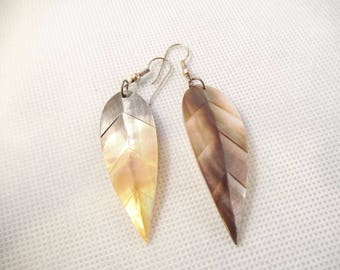 Mother of Pearl, MOP, Shell Pierced Earrings, Feather Design