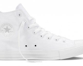 White Converse Canvas High Top Trainer Monochrome Custom Kick w/ Swarovski Crystal Rhinestone Chuck Taylor Wedding All Star Sneaker Shoe