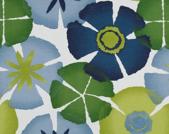 FABRIC REMNANT SALE - Blue Green Floral Cotton Upholstery Fabric