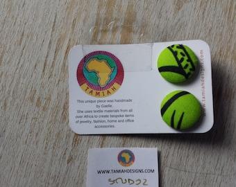 African print Button earrings, African earrings, Fabric button earrings, Button earrings. Fabric earrings, African wax print. green