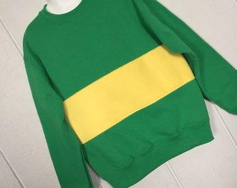 YOUTH Undertale shirt, Chara shirt, Chara sweatshirt, costume, cosplay shirt, green with yellow fleece stripe, YOUTH medium or large