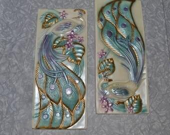 Vintage Peacock Chalkware Plaques ~ Peacock Wall Decor ~
