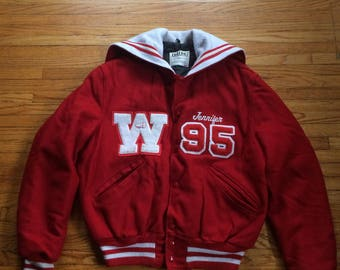 Vintage 1990's Wauseon Indians High School Cheerleader Letterman Jacket 1995