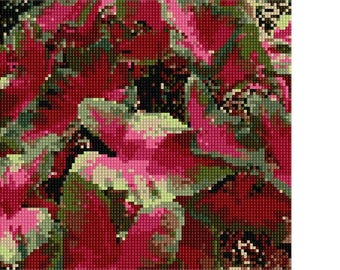 Needlepoint Kit or Canvas: Two Tone Leaves
