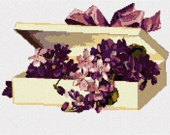Needlepoint Kit or Canvas: Box Purple Flowers