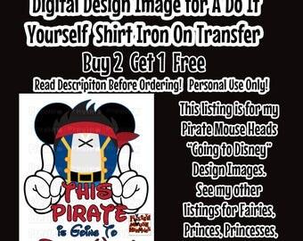 Going To Disney Pirate Mickey Ears Printable Iron on Transfer Mouse Head Shirt – DIY Disney Shirt Matching Family Shirts Minnie Ears