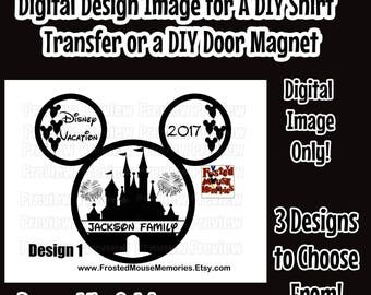 Digital Magical Castle Themed Disney Family Iron On Transfer Image – Disney Themed Family Door Magnet Image Matching Family Disney Shirts