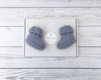 knitted baby booties | knit baby boots | baby boy bootees | knitted baby shoes | baby boy gift |  baby shower gift