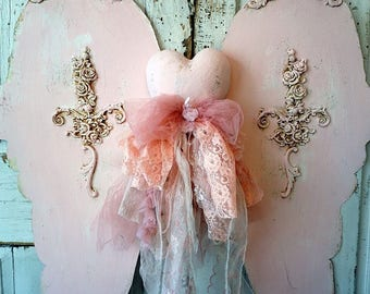 Huge pink angel wings with heart wall hanging hand cut ornate wing set w/ handmade embellished heart mannequin home decor anita spero design