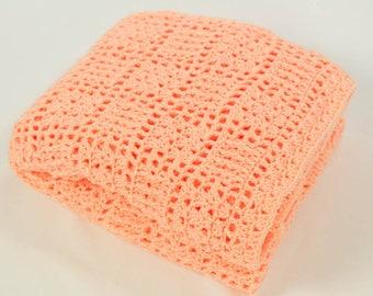 Crochet Baby Blanket Afghan In Peach, Nursery Decor, Crib Bedding, Lace Design, Baby Shower Gift, Baby Girl, Lap Blanket