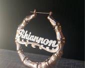 Large Bamboo Hoop Earrings In Rose Gold & Diamond Beading - Your Name Earrings - Hip Hop Earrings - Celebrity Hoops with Nameplate