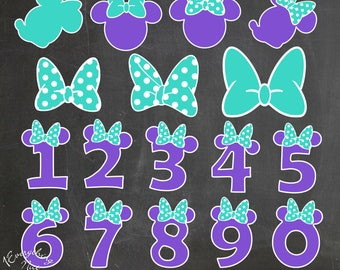 Minnie Mouse Purple and Turquoise Clipart Set