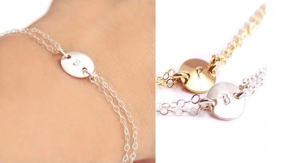 Custom Bracelet, Silver Initial Bracelet , Gold Bracelet, Gold Initial Bracelet, Dainty Bracelet, Personalized Bracelet, Bridesmaid Bracelet