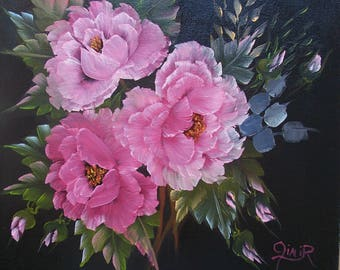 Pink Roses on Black Background - Deep-edge Canvas (216-119)