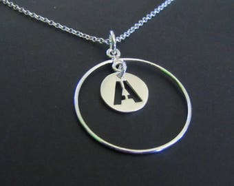 Personalized Circle Initial Necklace,  Initial Necklace, Circle Necklace, Sterling Silver Necklace, Charm Necklace, Jewelry, Gift for her
