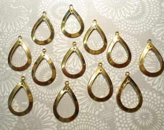 12 Goldplated 28mm Teardrop Earring Dangles Drops Charms Pendants