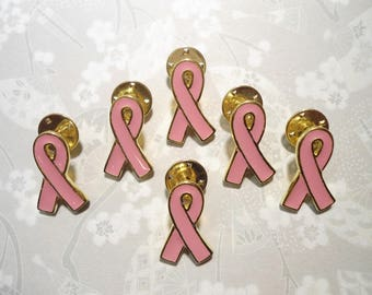 6 Goldplated Breast Cancer Awareness Pins