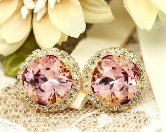 Blush Pink Earrings Bridesmaid Gift Vintage Pink Earrings Stud Earrings Swarovski Antique Pink Bridal Earrings Vintage Inspired  BP50S