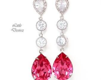 Pink Earrings Fuchsia Earrings Swarovski Hot Pink Earrings Long Crystal Earrings Magenta Earrings Sparkly Pink Bridal Earrings RP31PCC