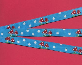 """NOVELTY Jacquard Ribbon Trim, Poly, 1/2"""" Wide, Sky Blue Background Red Toadstools with Mini White Polka Dots, Green Grass, Priced Per Yard"""