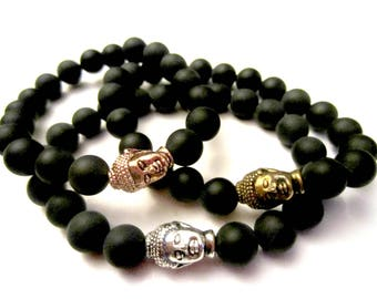 Onyx Buddha Bracelet. Healing Stones. Energy Bracelet. Onyx Bracelet. Yoga Jewelry. Chakra Bracelet. Grounding Bracelet. Root Chakra.
