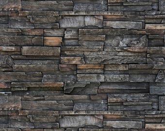 Dark Stone Wall - Exclusive - Vinyl Photography Backdrop Floordrop Prop