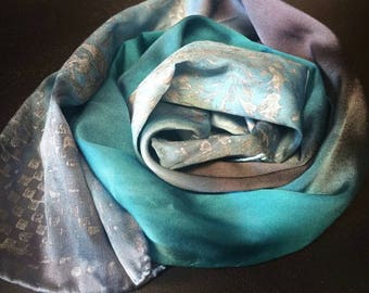 Silky lapel scarf,one of a kind scarves,hand painted and stamped,luxury accessories for women,gifts for her,blue,gray,silk scarves,headband