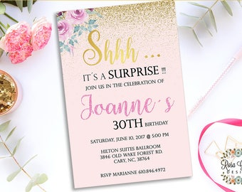 30th BIRTHDAY INVITATION - Birthday Party Invitation - Digital File - Fully Customized - 30 and flirty - Shabby Chic Gold glitter - Surprise