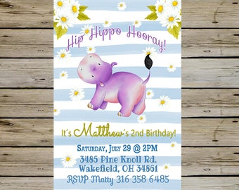 HIPPO BIRTHDAY INVITATION - Watercolor Hippopotamus Birthday Party - Hippo Birthday - Hippopotamus Birthday - Boy Invite - Boy Birthday