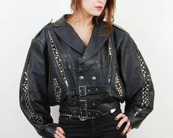 SALE 80s Leather Jacket / Studded Jacket / Punk Jacket / Biker Jacket / Black Leather Jacket / Rocker Jacket / Grunge Jacket /Leather Moto J