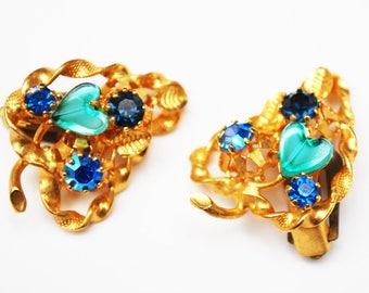 Blue rhinestone  earrings - signed Austria - clip on earrings -  gold leaf - gift for her