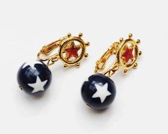 Red  white Blue  star dangle earrings - Patriotic -  enamel gold  - Drop - clip on earrings