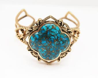 Barse  Bronze Cuff - Spider web Turquoise Gemstone - open work setting - Gold blue bracelet