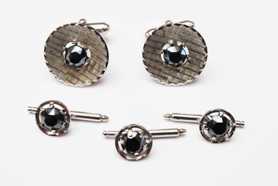 Sterling Hematite Cuff links  - three Tuxedo Button Slide - Silver black -  wedding groom