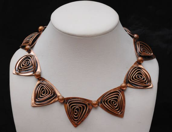 Copper Link Necklace - Modernistic Mod -  Triangle panel  -collar -  mid Century