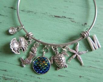 Mermaid and friends Bracelet, initial bracelet, initial Bangle, Adjustable Expandable bracelet, stainless steel bangle