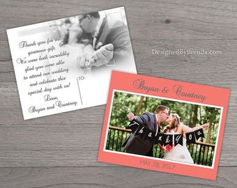 Custom Designed Wedding Thank You Postcards with image on back - ANY Color - Simple, Modern & Fun! - Free Shipping Everywhere!
