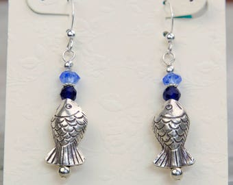 Fish Dangle Earrings, Fine Silver w Sapphires and Blue Quartz, Gemstone Earrings, Hypo Allergenic, Beach Earrings, Nautical Charm Earrings
