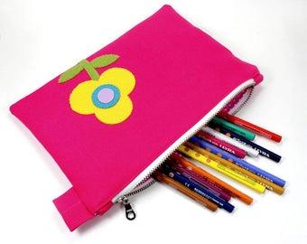 zipper pouch | pencil pouch  | organic canvas pencil case  | flower applique pouch  | school supply | organizer | organic pouch