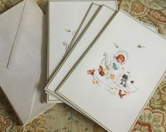 Vintage Set of Ten Christmas Cards and Envelopes-Angel Feeding Animals