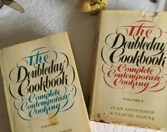 Doubleday 1975 Complete Contemporary Cooking Cookbook/Book-Volume 1&2-Jean Anderson/Elaine Hanna
