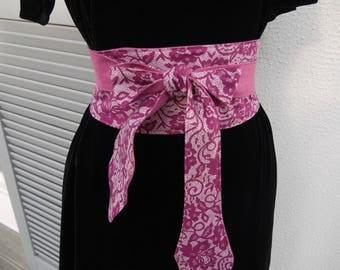 Obi sash style belt Japanese - 2 in 1 - liberty pink and white - lined raspberry