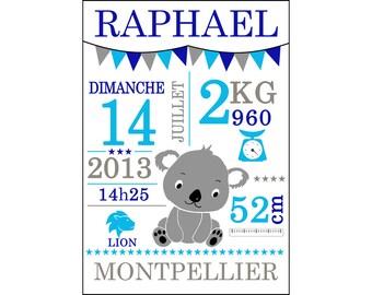 Affiche 50x70 Cadeau de Naissance Personnalisé - éléphant, girafe, renard, ou autre animal.